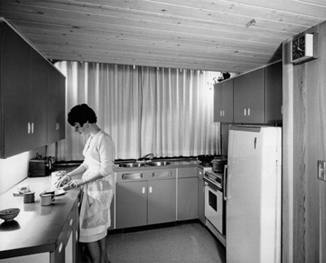 Rosalie Gower in the kitchen of the Gower house  1965  Terry Gower   architect  John Fulker  photographer  Vernon  British Colombia  1965. CABINET    Artist Project   Kitchen I   II