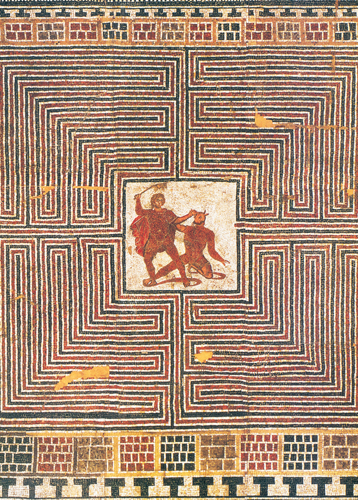 Cabinet Haunted Mazes How To Make A Classical 5 Circuit Labyrinth From Meander Roman Mosaic Depicting The Battle Between Theseus And Minotaur In Ca 275300 Ce