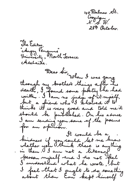 Letter from ethel malley to max harris accompanying her brother