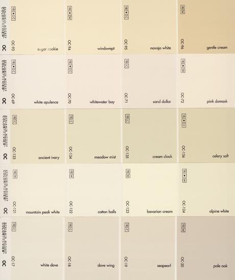 a random sampling of benjamin moores white paint chips - Benjamin Moore Creme Brulee